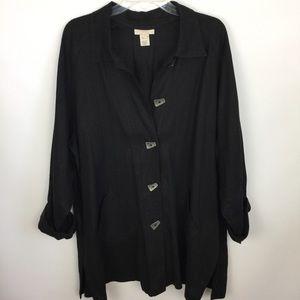 J. Jill 100% Linen Lagenlook Jacket Coat Top Sz L